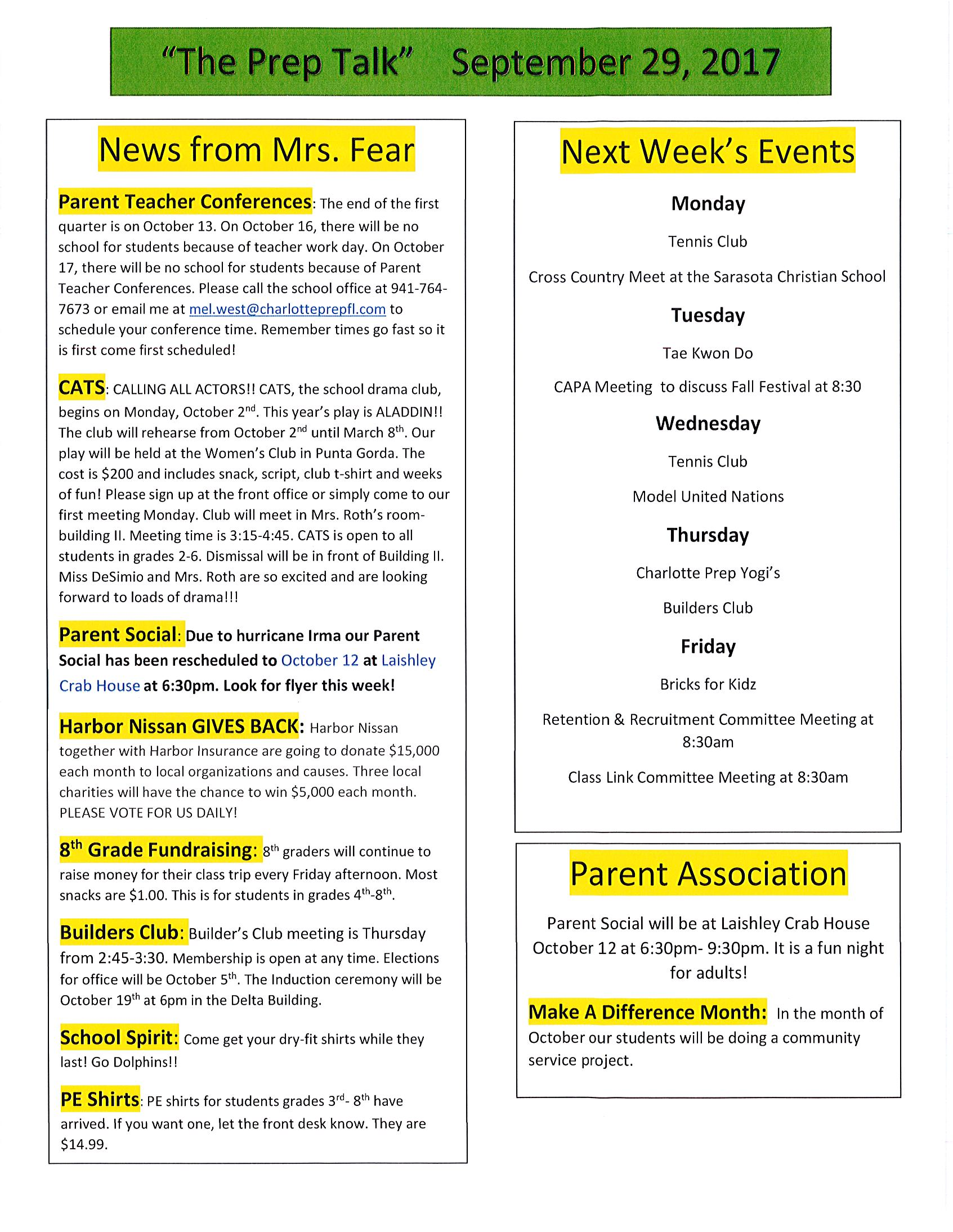 Charlotte Preperatory School Newsletter-Prep Alk