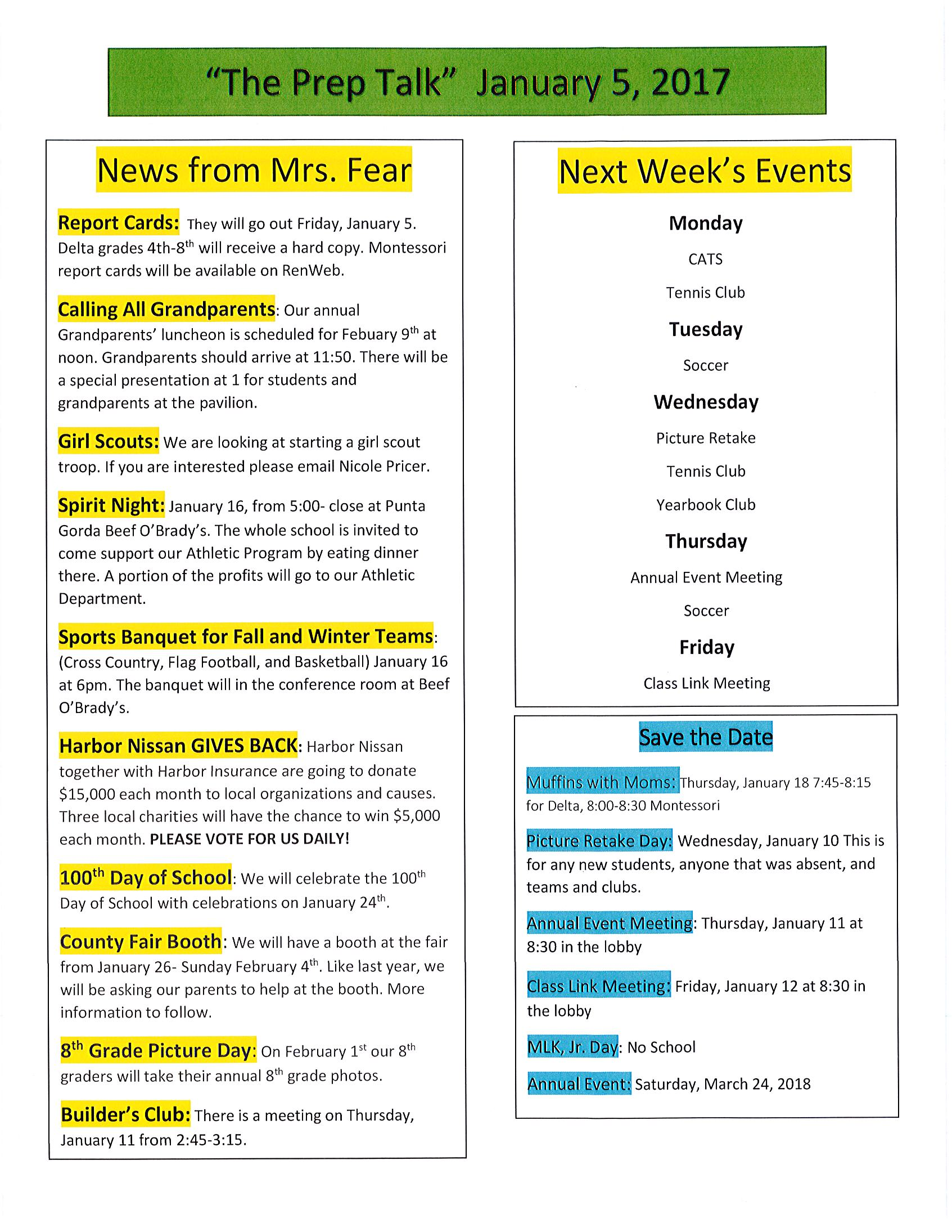 Picture of the January 5th, 2018 newsletter.