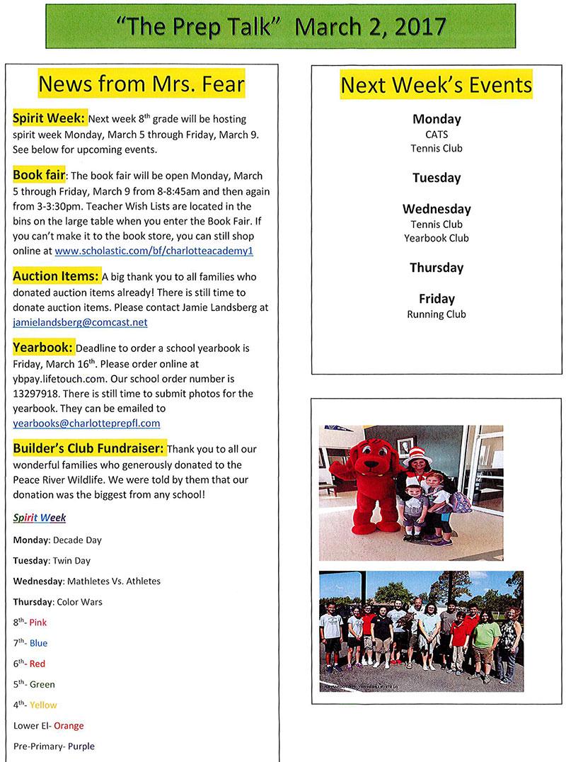Charlotte Preparatory School, Prep Talk Newsletter, March 2, 2018